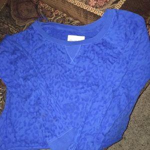 Womens Aeropastle blu long sleeve leopard skin top